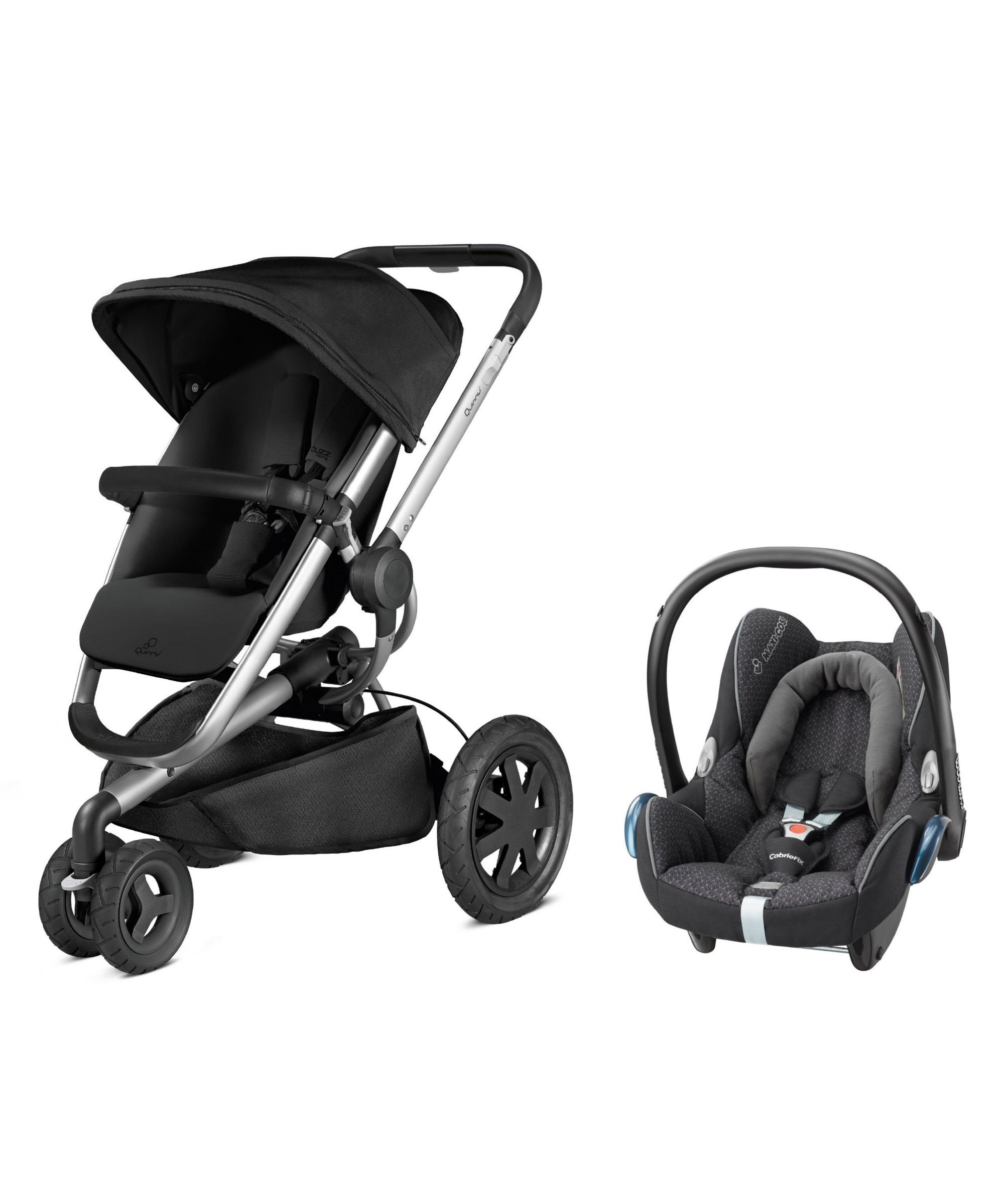Buzz Xtra Black Crystal Pushchair and Cabriofix Car Seat