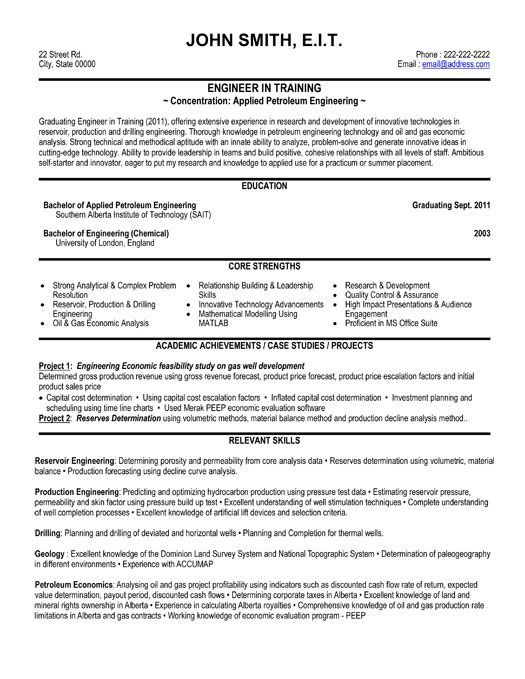 Resume Format Engineering Pinterest Sample resume, Template and - petroleum engineer job description