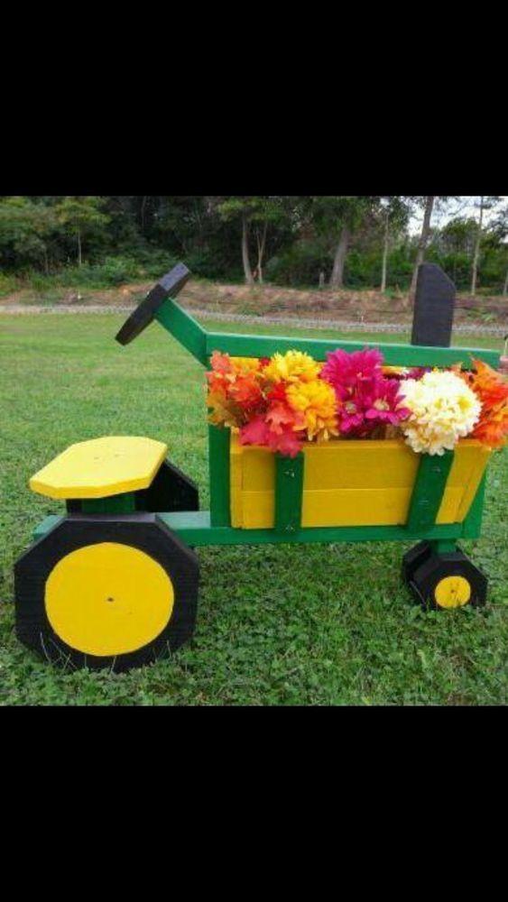 Tractor Flower Box Planter John Deere Garden Planters Wood Bo