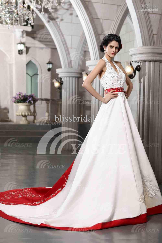 Großhandel Charming Halter Satin A Line Hochzeitskleider Appliques ...
