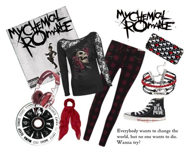 """""""My Chemical Romance - Tribute to the Black Parade"""" by namiko-miyahara ❤ liked on Polyvore featuring rag & bone, Alexander McQueen, Sennheiser, Converse and Diane Von Furstenberg"""