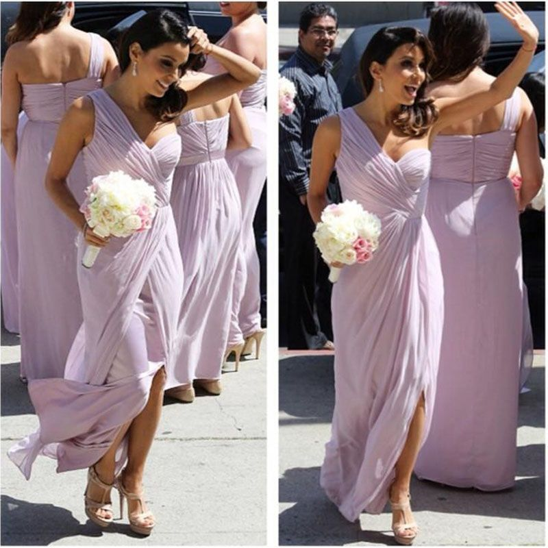 >> Click to Buy << A-Line Sweetheart Pink Bridesmaid Dress Long Chiffon One Shoulder Wedding Party Prom Dresses Pleat Custom Made #Affiliate