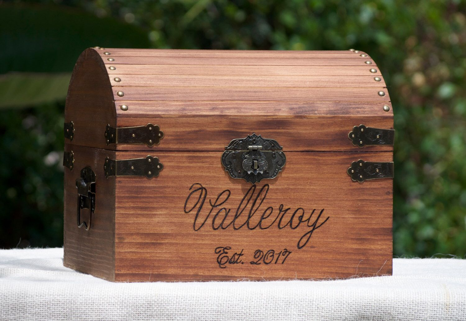 personalized lockable large rustic wedding card box with