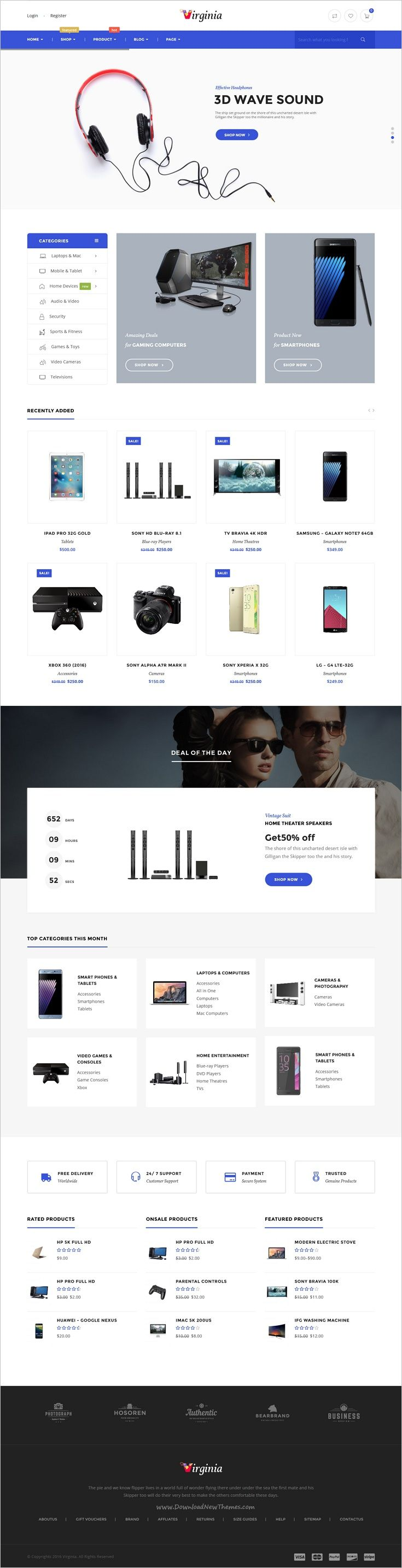 Virginia Is A Tidy And Responsive 5 In 1 Woocommerce Wordpress Template Suitable For Tech Sh Website Design Inspiration Web Design Blog Templates Wordpress