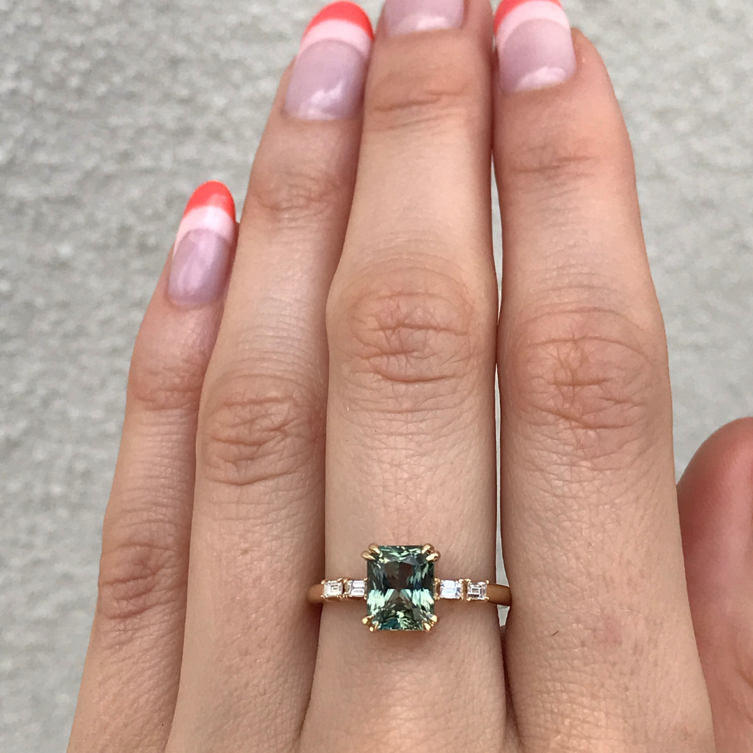 Olive Green Sapphire Ring With Baguettes Green Sapphire Ring