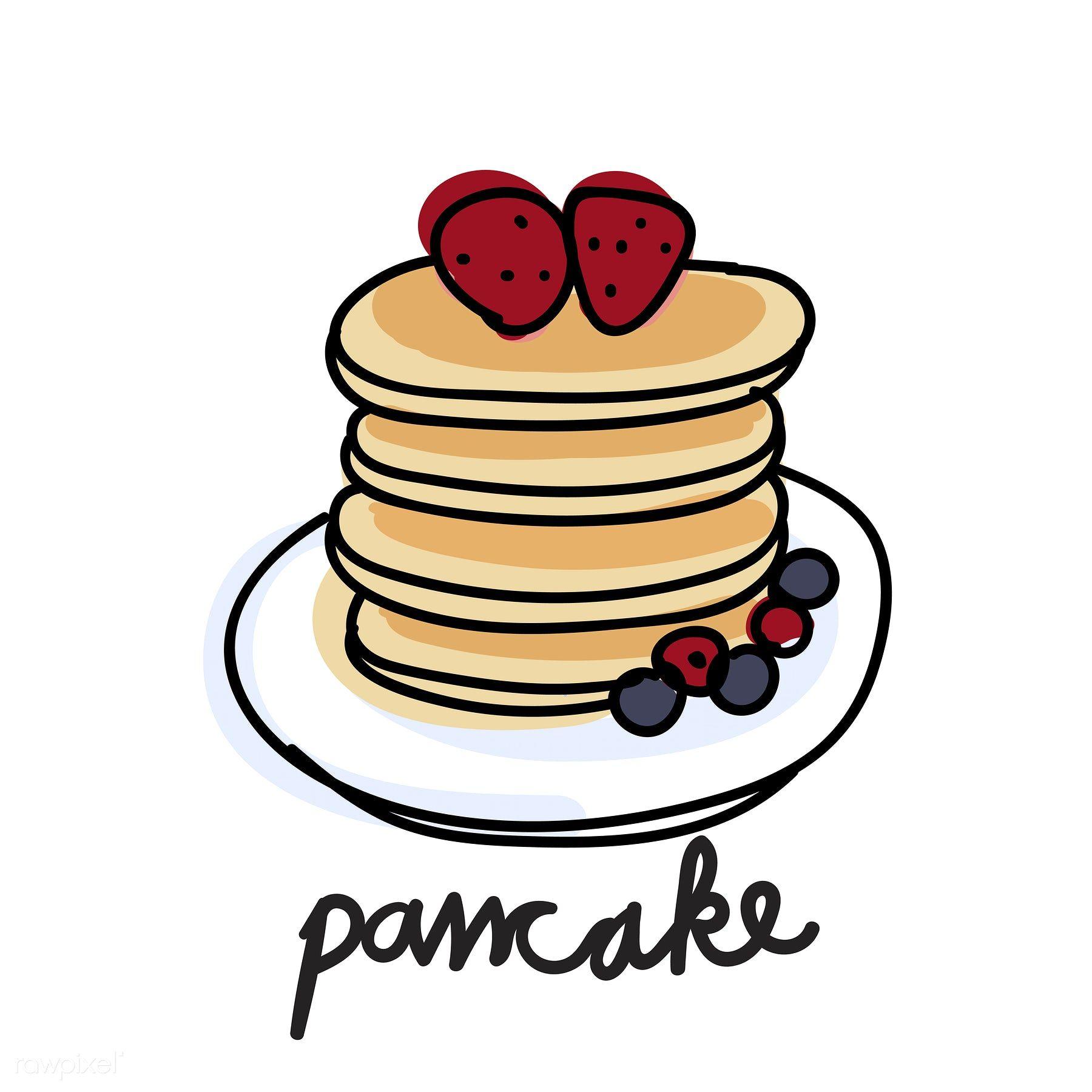 illustration drawing style of pancake [ 1800 x 1800 Pixel ]
