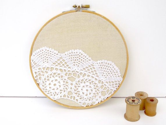 embroidery hoop art with recycled vintage crochet by resplendid