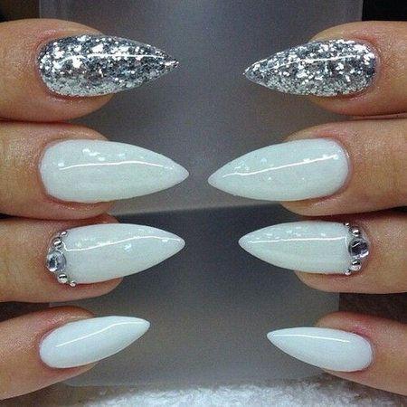 White / silver glitter with swarvoski crystals. Stilettos. - Nails ...