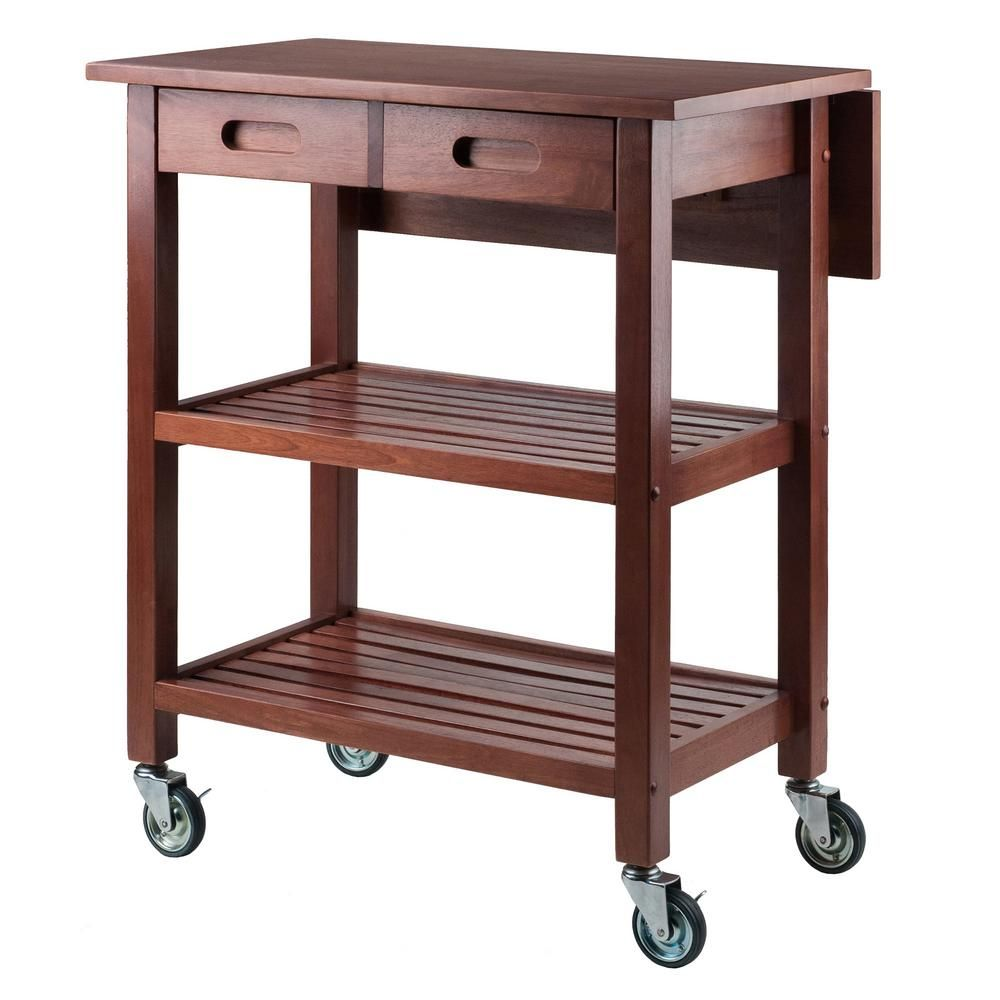 Winsome Wood Jonathan Walnut Kitchen Cart With Drop Leaf 94734 In