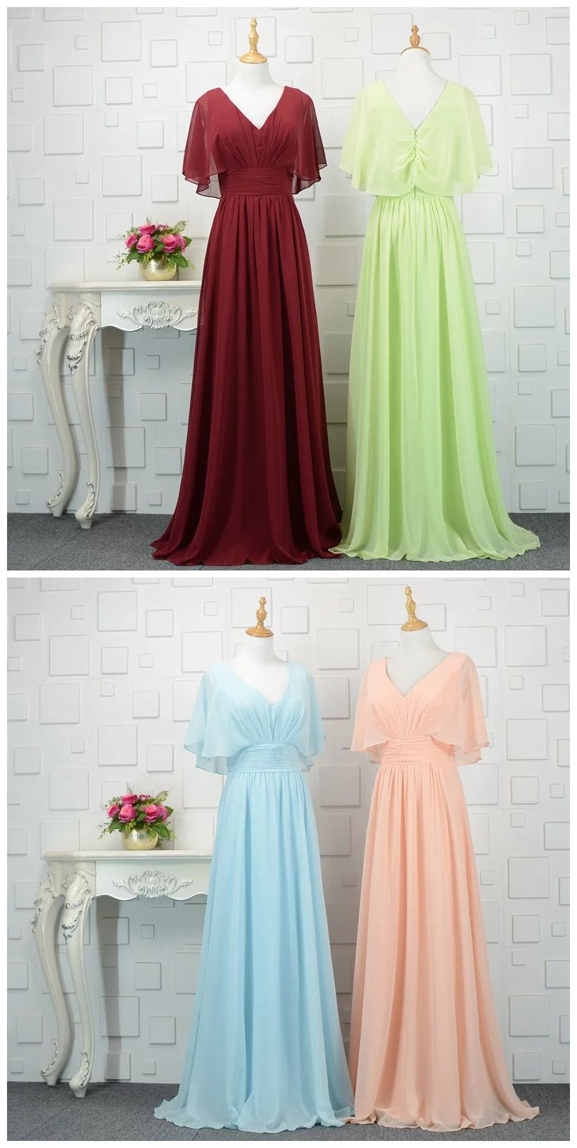 Chiffon evening dress vintage v neck long prom dress simple
