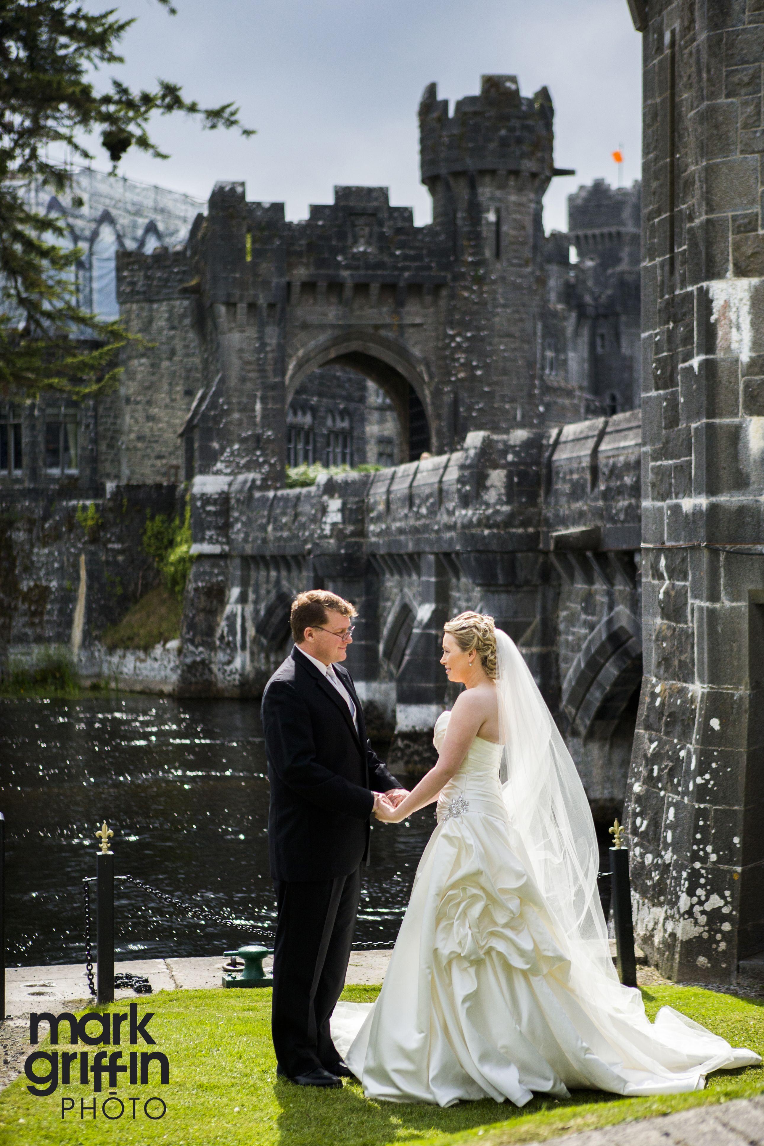 interesting wedding venues ireland%0A Cynthia and George enjoy the sunshine outside Ashford Castle on their  destination wedding in Ireland