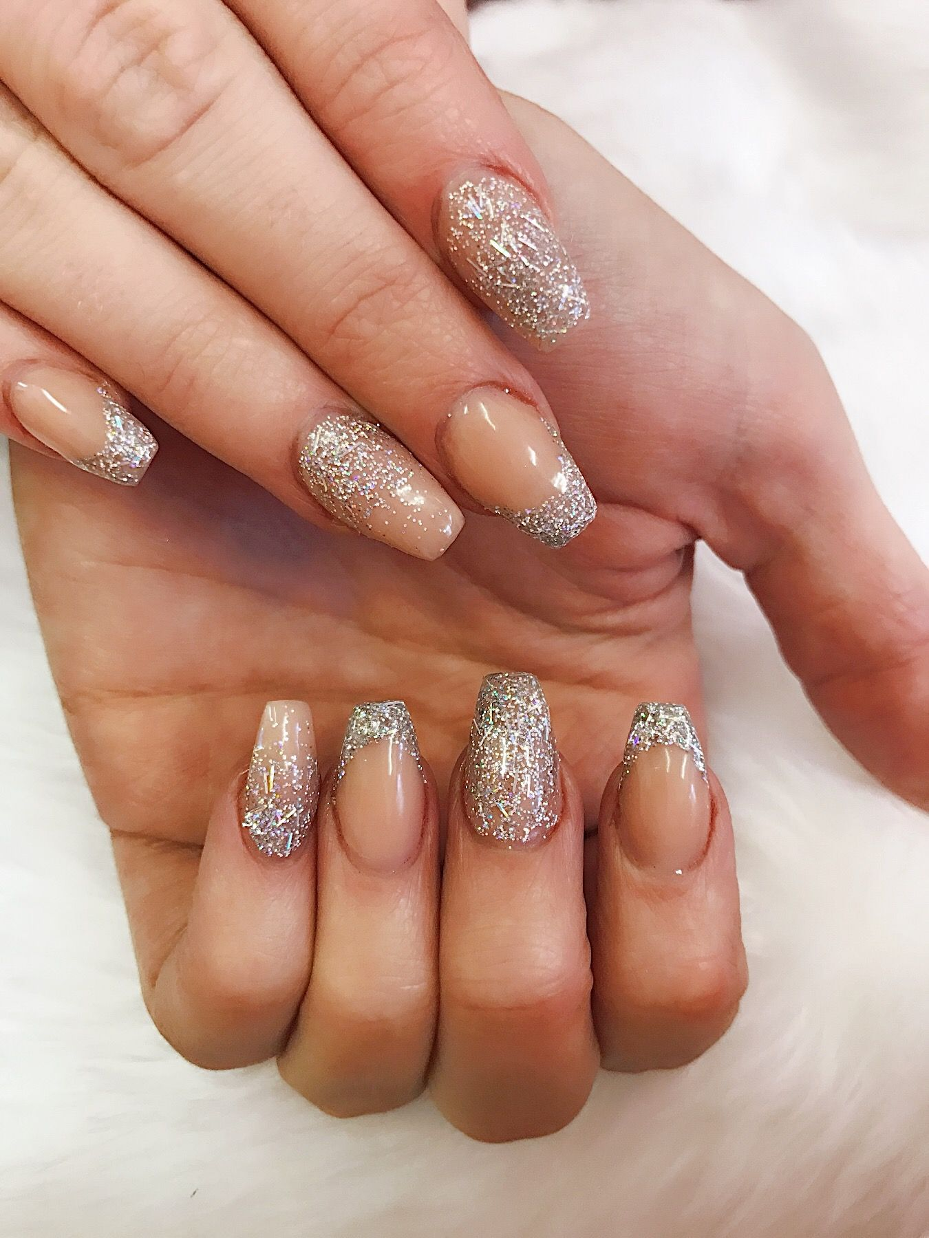 Encapsulated Glitter Coffin Shaped Acrylic Nails