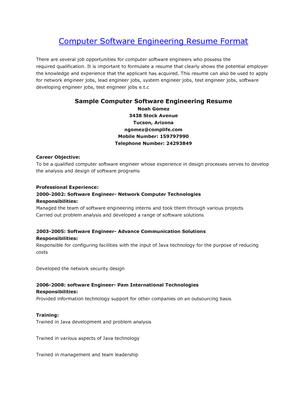 Sample Computer Engineering Resume  HttpWwwResumecareerInfo