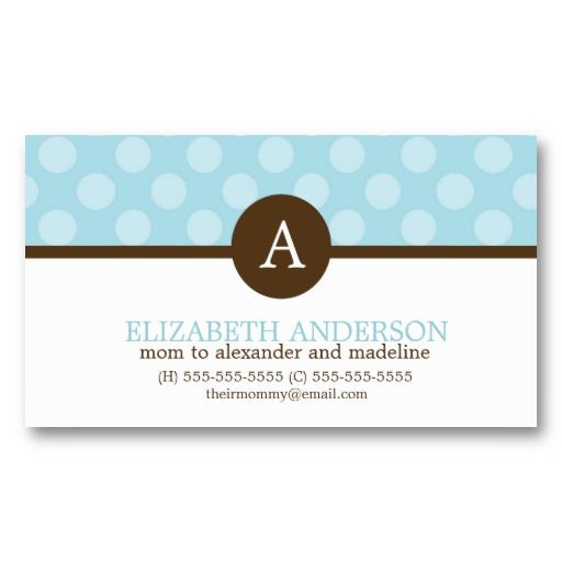 Blue whimsical polka dots pattern monogram business card business monogram polka dots mom calling cards business cards colourmoves