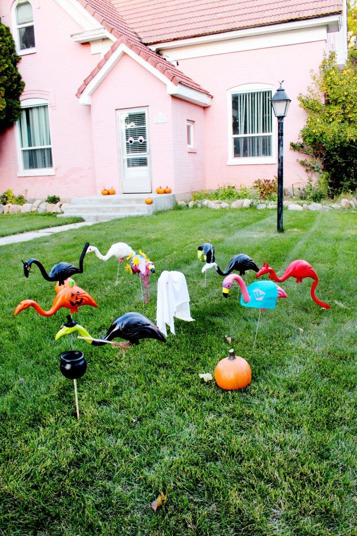 DIY Lawn Flamingos in Halloween Costumes Halloween costumes and