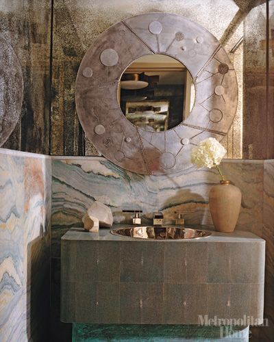 Kelly Wearstler Beach House: Kelly Wearstler Pink Marble Bathroom