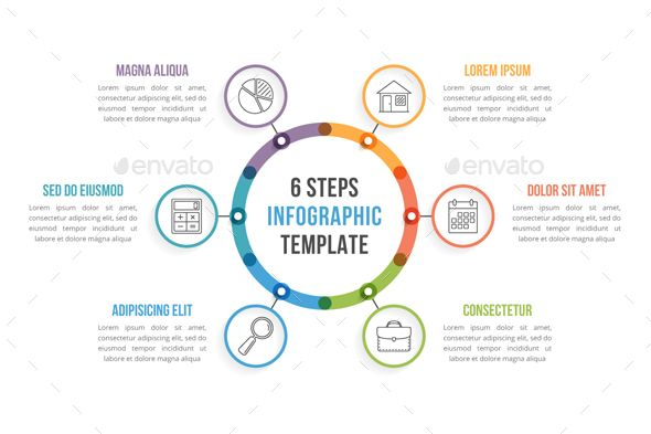 Circle infographics with six steps ai illustrator infographic circle infographics with six steps template psd vector eps ai illustrator ccuart Images