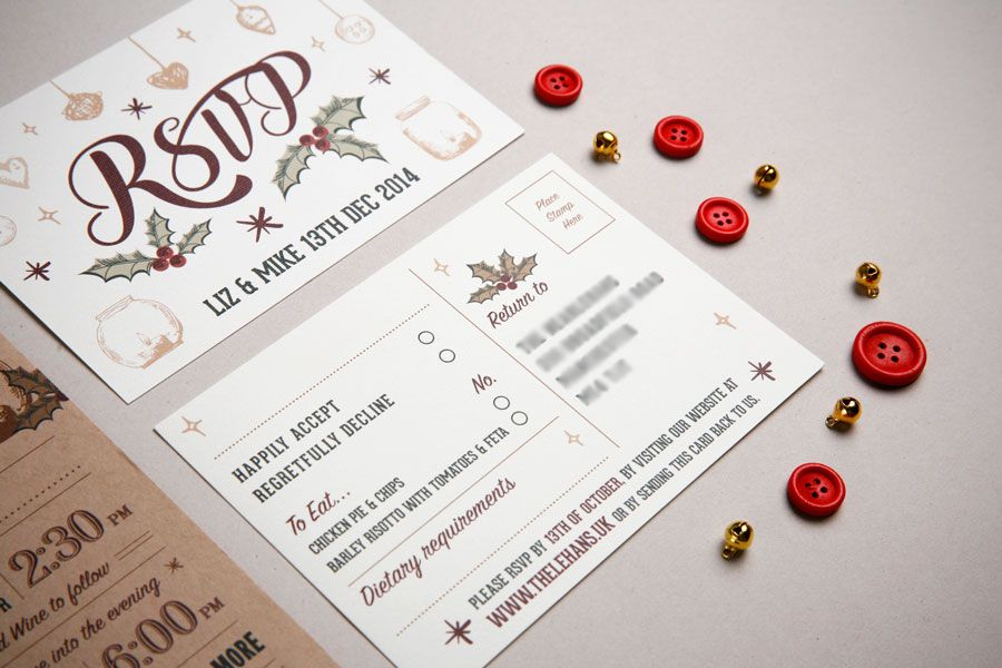 Two Part Wedding Invitation – Christmas Themed. Designed by www ...