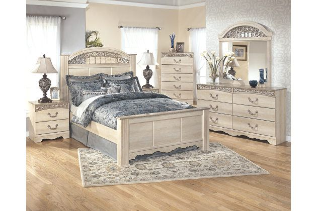 Antique White Queen Poster Bed And Bedroom Furniture Set With Scroll Motif And Faux Marb Bedroom Set Ashley Bedroom Furniture Sets Distressed Bedroom Furniture