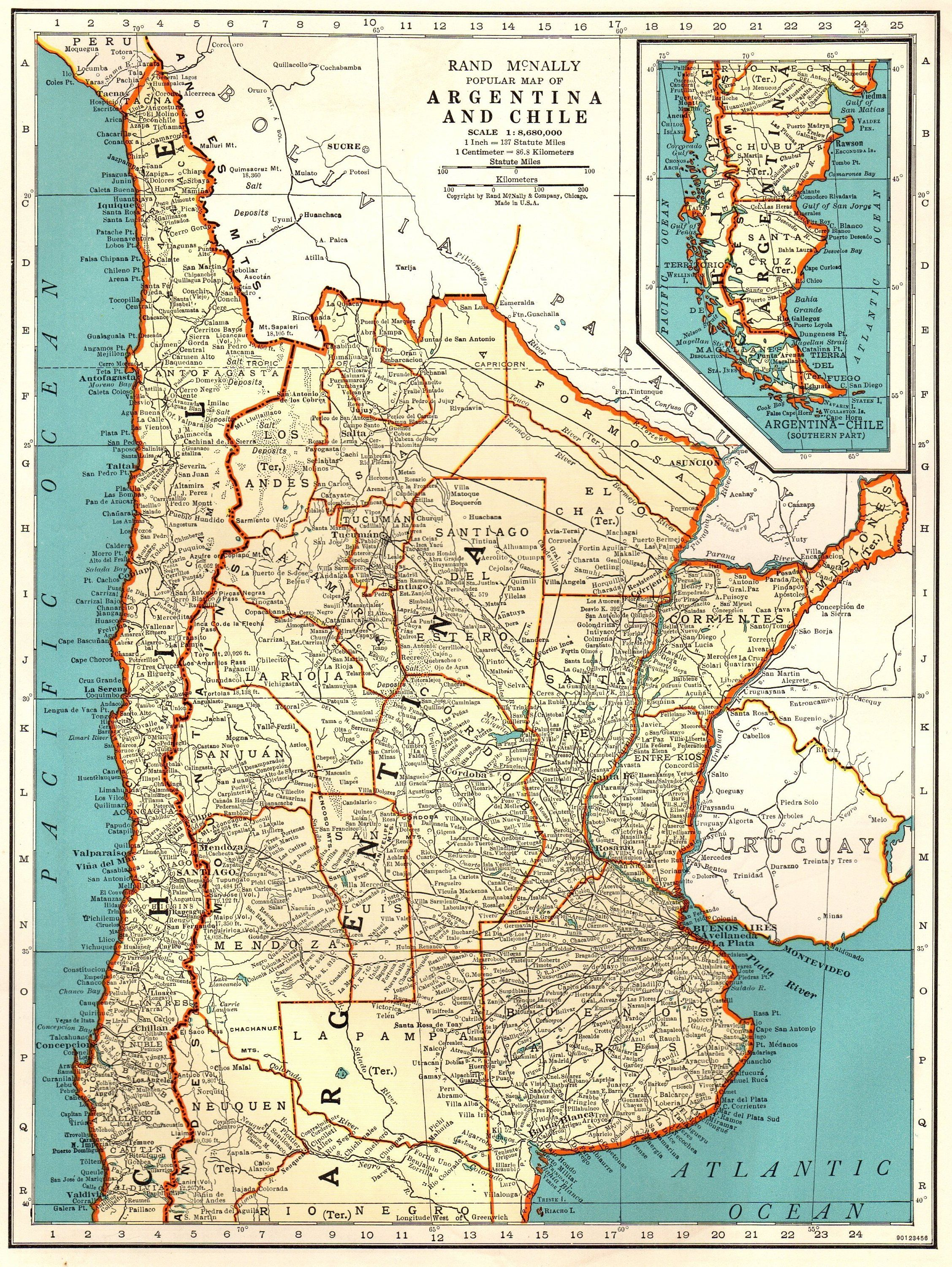 Antique ARGENTINA Map CHILE Map 1939 Vintage Map of Argentina and ...