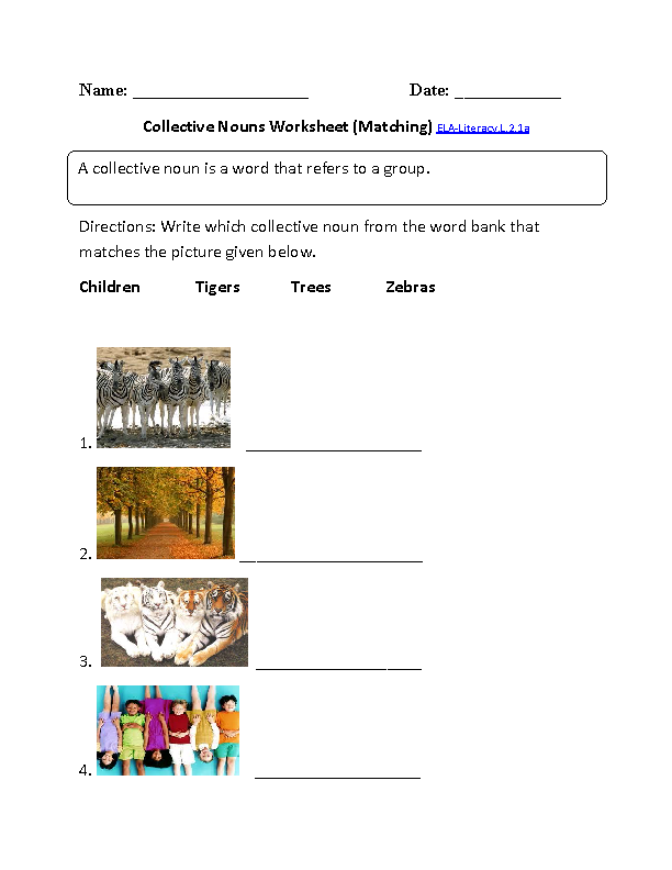 Collective Nouns Worksheet 1 ELALiteracy.L.2.1a Language