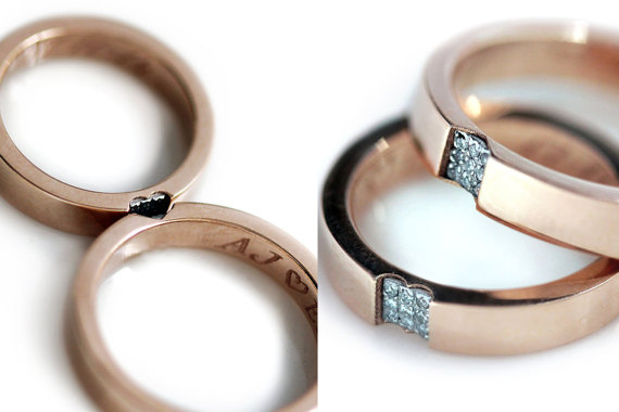 7f2fc12689 Promise ring set in 14k rose gold - Wedding band sets - Love rings - White