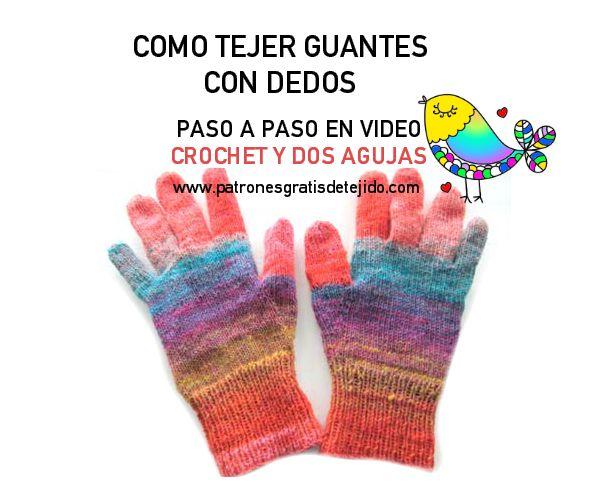 Crochet y Dos agujas: CURSO GRATIS TEJIDO: Guantes Dos Agujas y ...