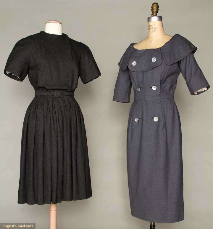 TWO DESIGNERS' WOOL DAY DRESSES, 1955