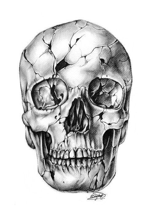 Cracked Skull Tattoo Sketch Skulls Pinterest Tattoo