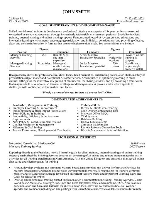 Click Here to Download this Employee Training Manager Resume - chef manager sample resume