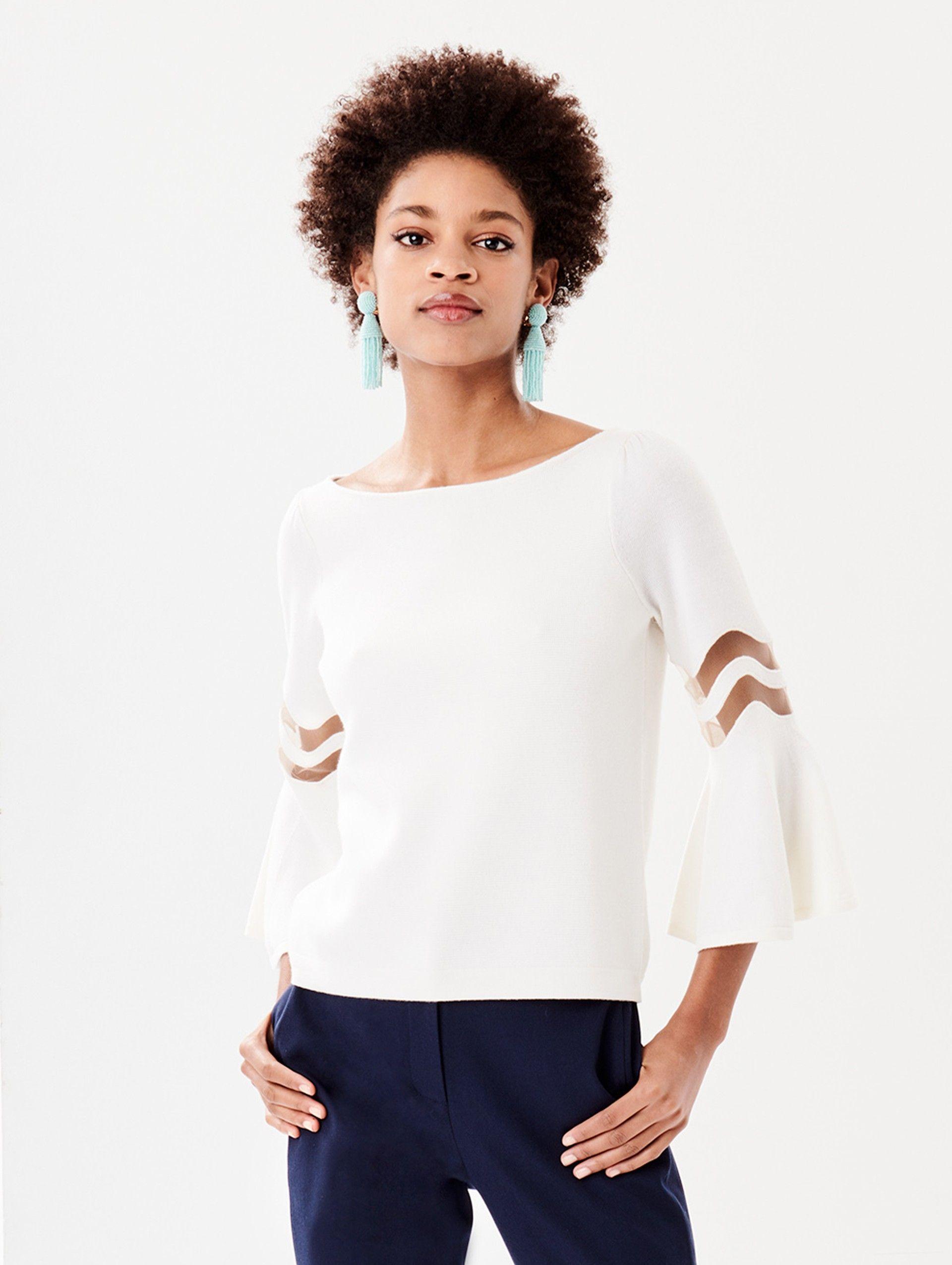 f08a26b4bd4def ... Blouses & Knits collection and designer fashion at the official ODLR  website. Oscar de la Renta - Flutter-Sleeve Pullover