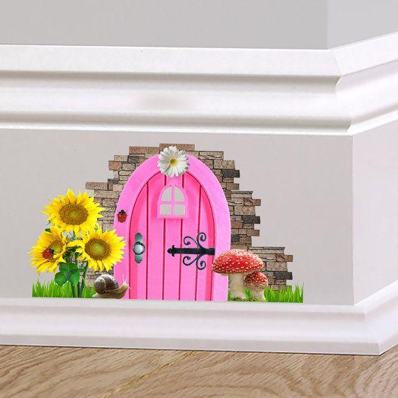 Pink Fairy Cottage Door Wall Decal Sticker by TheWallStickerComp ...