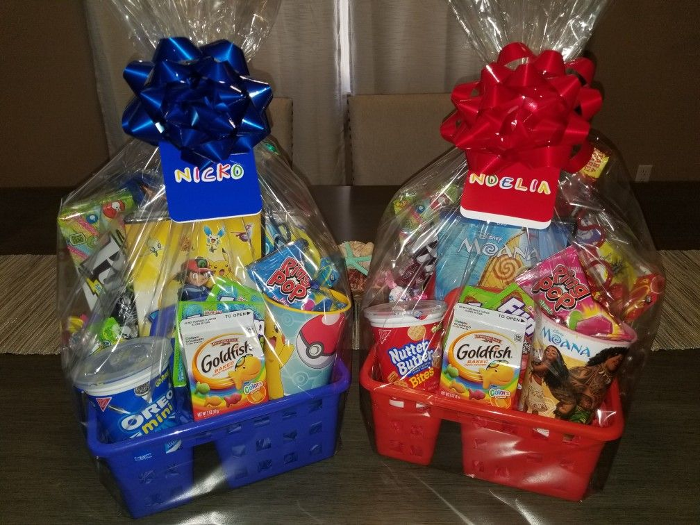 Movie night gift baskets, Pokemon, moana
