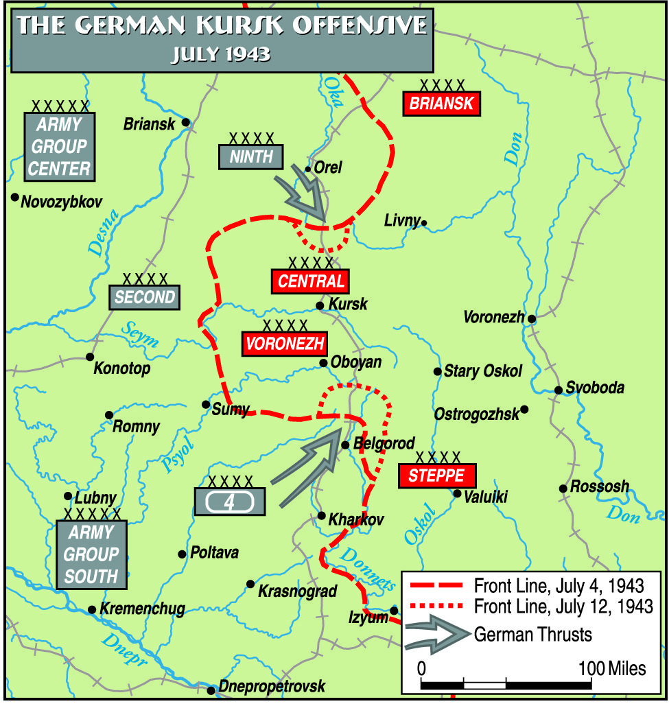 MKursk Map CFeb WW The Eastern Front Operation - Kursk map