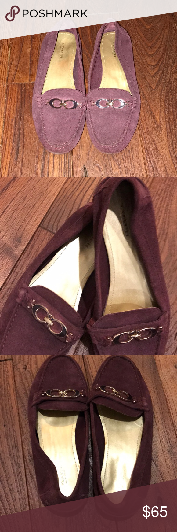 58199bc9699 Coach Fortunata Burgundy Suede Loafers Coach Fortunata Burgundy Suede  Loafers. Size 7.5 with coach emblem buckle. Very comfortable in good  condition.