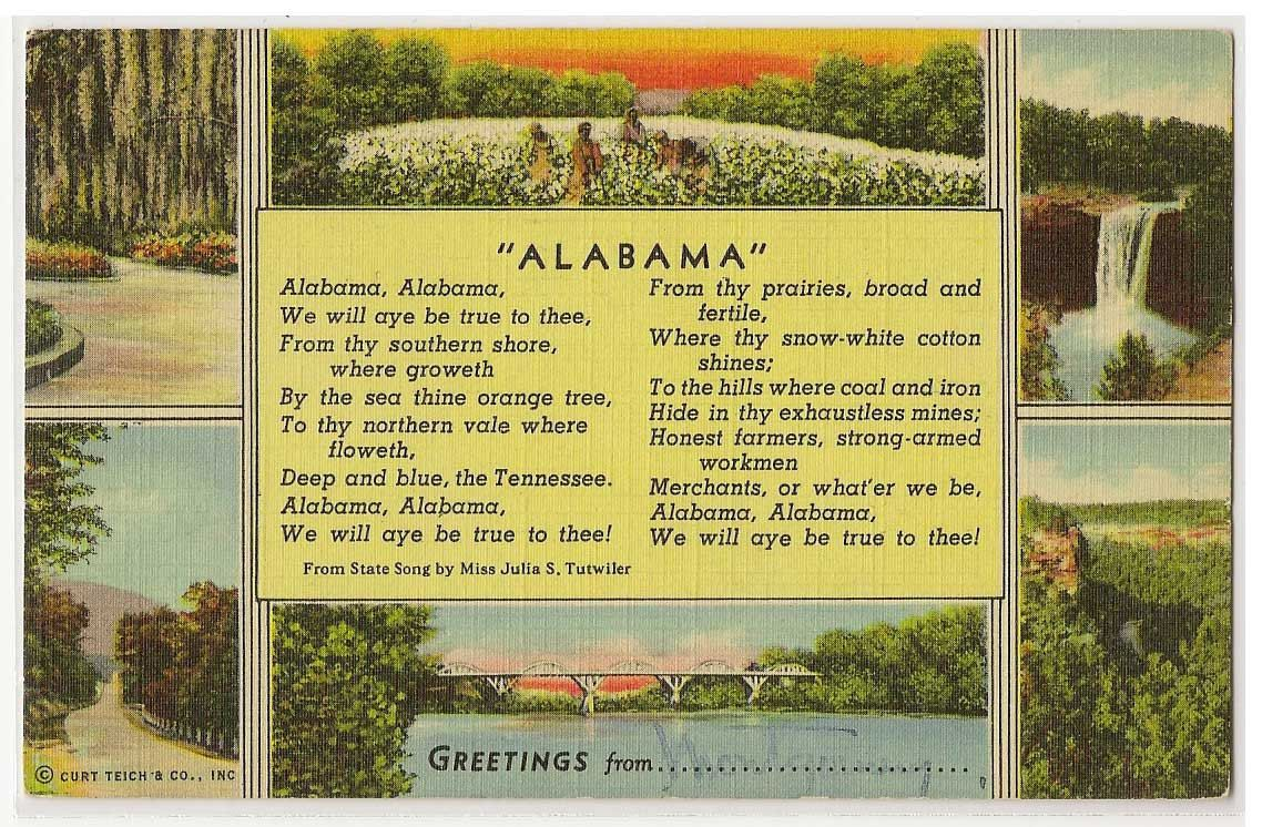 Alabama state song vintage linen postcard   greetings from ...