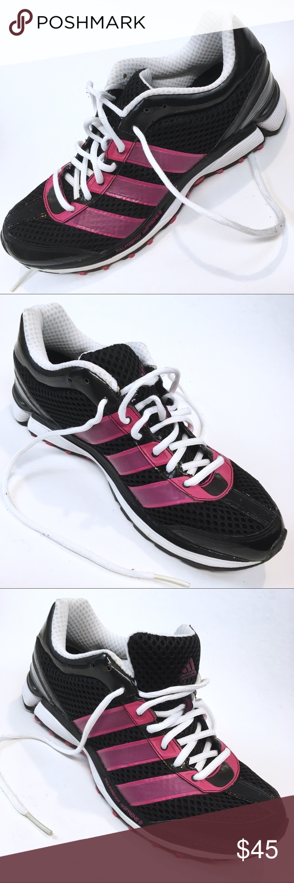 a419c31567a adidas adizero FULL-FOREFOOT adiPRENE Black Pink These black with pink  stripes adidas adizero FULL-FOREFOOT adiPRENE running gym shoes are in very  good ...