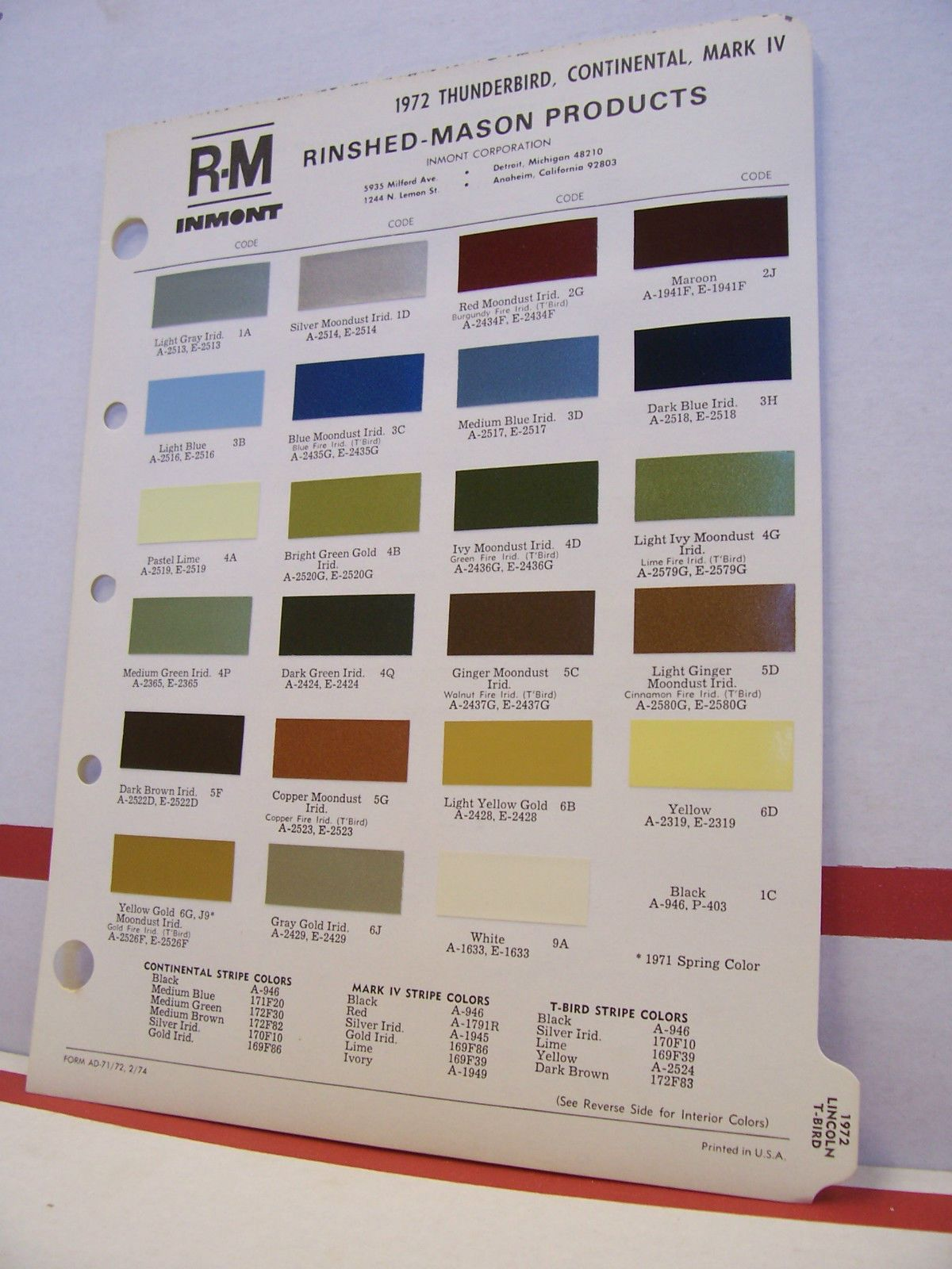 1972 lincoln continental mark iv thunderbird paint chips color 1972 lincoln continental mark iv thunderbird paint chips color chart r m 72 ford ebay nvjuhfo Choice Image
