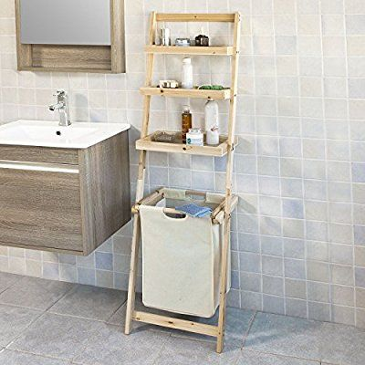 SoBuy® Leiterregal, Badezimmer Regal Mit Abnehmbarem Wäschekorb Und  3 Fächern Zur Ablage