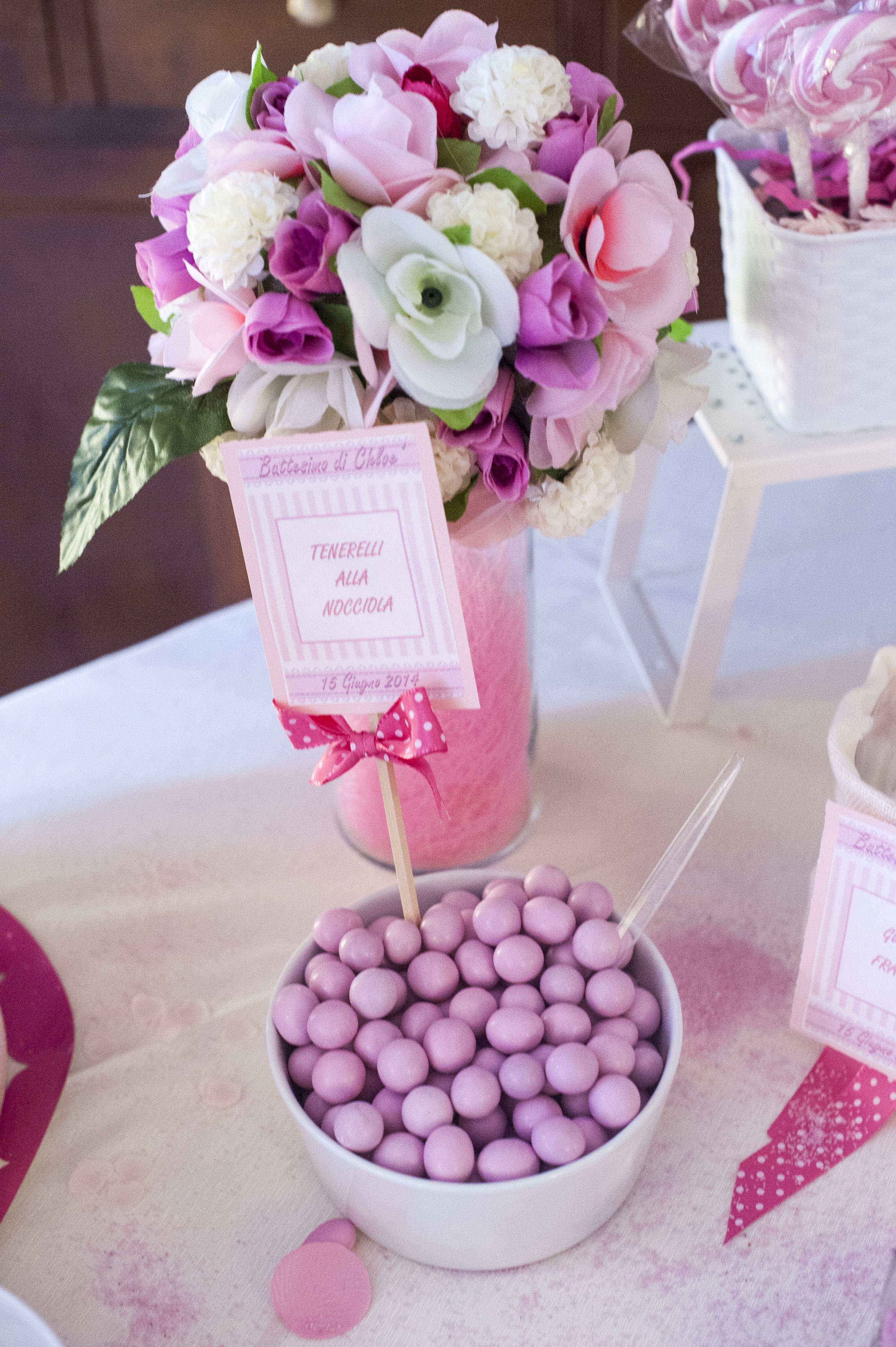 Dettagio confetti e fiori confettate e caramellate - Decorazioni per battesimo bimba ...