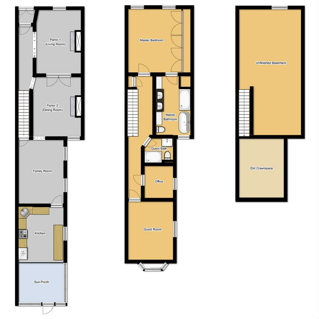 Floor plans for long narrow houses house design row lot for Long house plans