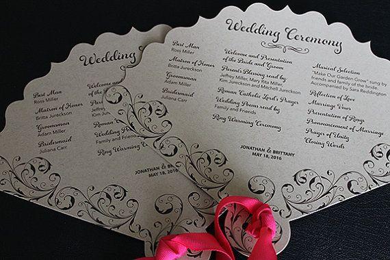 Wedding Fan Wedding Menu Printed Wedding by Diecutslovepaper Vons