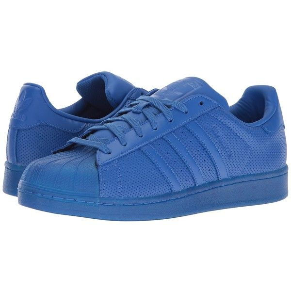 adidas Originals Superstar AdiColor (Blue/Blue/Blue) Athletic Shoes (1.450 ARS) ❤ liked on Polyvore featuring shoes, laced up shoes, rubber footwear, perforated shoes, blue color shoes and adidas originals