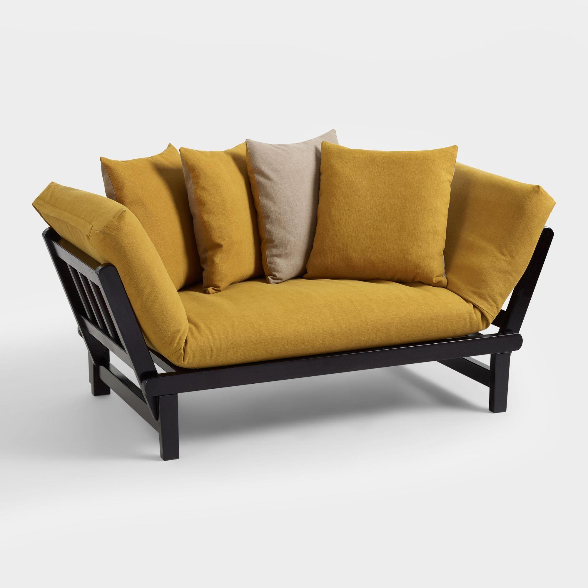 Mustard And Stone Studio Day Sofa Slipcover Yellow Natural