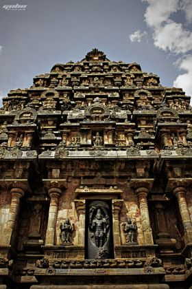 The Peruvudaiyar Kovil is a Hindu temple dedicated to Shiva that is located in the city of Thanjavur in the Indian state of Tamil Nadu. It is an important example of Tamil architecture achieved during the Chola dynasty. It is also known as Periya Kovil,Brihadeshwara Temple, RajaRajeswara Temple and Rajarajeswaram.