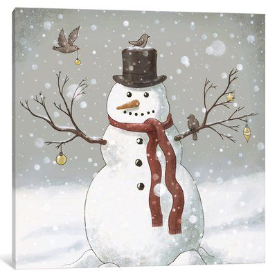 The Holiday Aisle 'Christmas Snowman' Painting Print on Wrapped Canvas | Wayfair