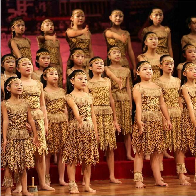 Children Hunter Costume African Tribal Dance Performances -4719