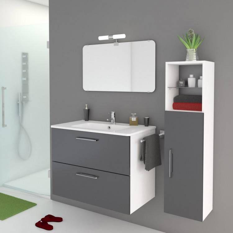 meuble de salle bain noir brillant petit gifi moderne dis800an leroy merlin en 2020 | Meuble ...