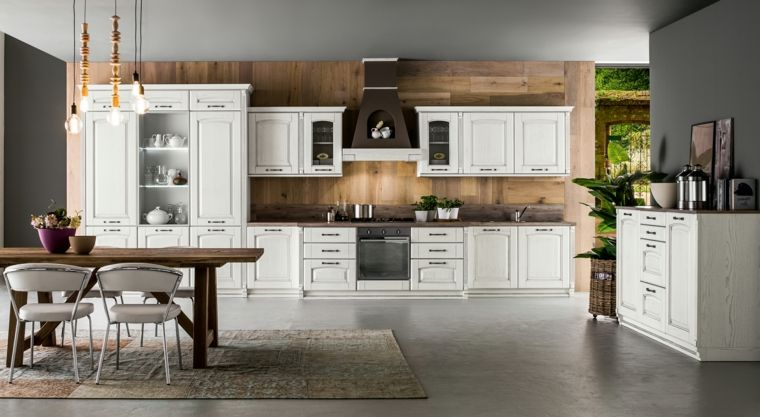 arredamento per cucine in muratura moderne bianche con tavolo e ...