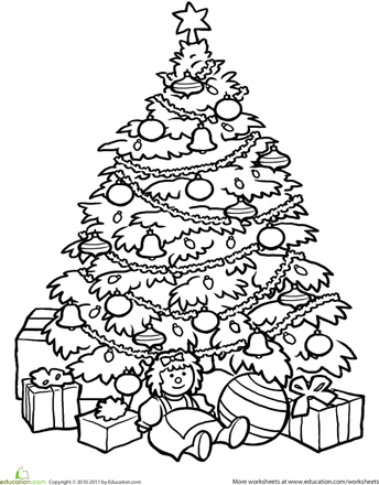 Worksheets christmas tree coloring page